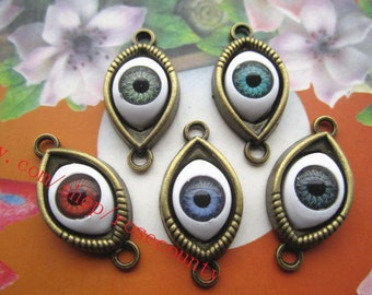 wholesale 100pcs antiqued bronze Evil eye 30x15mm charms findings connectors--5 colors for your choose