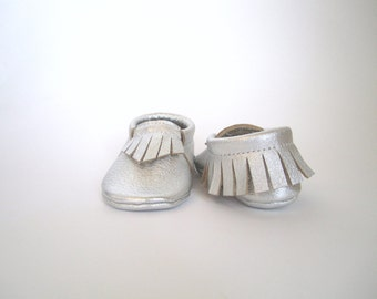 Silver Leather Baby Moccasins