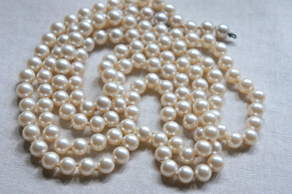 Vintage faux pearl strand necklace 1960's pearl necklace extra long pearl necklace from The Jeweler's Wife