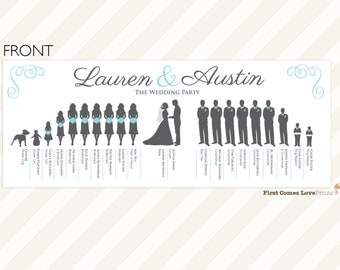 "PRINTABLE Silhouette Wedding Program • ""The Lauren: Double-Sided"" • Extra Large Bridal Party • Choose Your Silhouettes/Colors • 11 x 4.25 in"