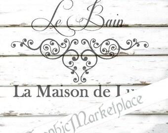 Maison de Le Bain Bath Ornament Instant Download French Transfer digital collage sheet graphic printable No. 647