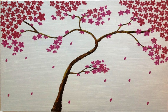 Tears.impasto abstract original acrylic painting, cherry blossom on 24''x36'' inch on stretched canvas