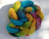 Reserved for Tina Festive-1, 115g/4oz, BFL, Fiber, Roving, felting, Hand Dyed, OOAK, Luster, Long Wool