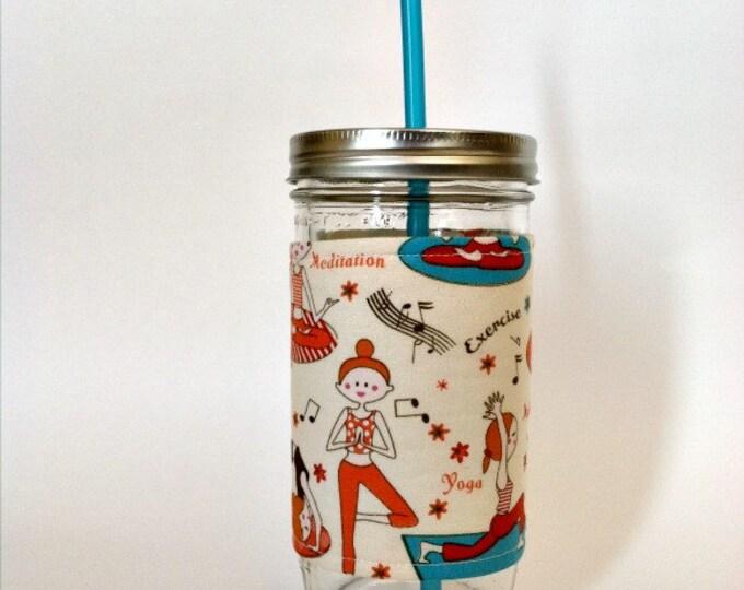 Mason Jar Tumbler 24oz Yoga Inspired Insulated Cozy w BPA Free Straw - Travel Mug Great Gift