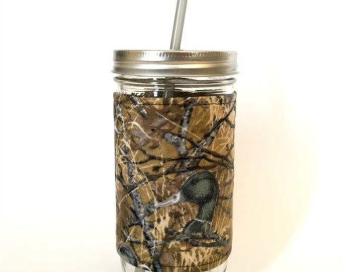 Duck Commander Inspired  24oz Mason Jar Cup Tumbler  Insulated Fabric Cozy w BPA Free Straw - Travel Mug Great Gift