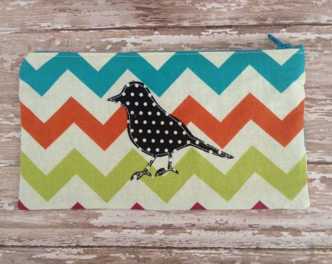Free Bird Zipper Pouch Make Up Bag
