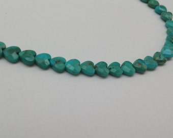 Faceted Turquoise heart shape 6mm approximately 30 pcs-