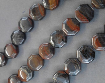 Tiger Iron  Octagon shape bead