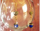 Beautiful Gold Hook Earrings with Blue Sapphire
