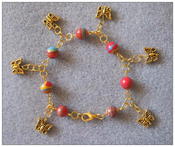 Handmade Gold Anklet with Striped Gemstones & Butterflies by IreneDesign2011