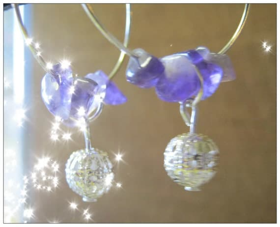 Handmade Silver Hoop Earrings with Amethyst by IreneDesign2011