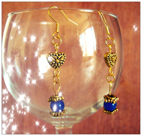 Handmade Gold Hook Earrings with Blue Sapphire & Heart by IreneDesign2011