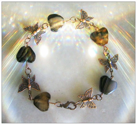Handmade Copper Bracelet with Obsidian Hearts & Butterflies by IreneDesign2011
