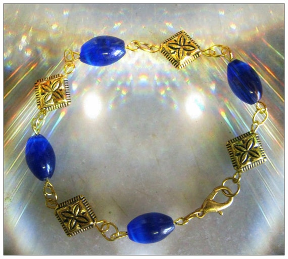 Handmade Gold Bracelet with Blue Opal Rice by IreneDesign2011