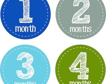 Baby Month Stickers Baby Monthly Stickers Boy Monthly Shirt Stickers Sketch Blue Green  Baby Shower Gift Photo Prop Baby Milestone Sticker