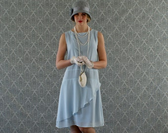 Stylish flapper dress in light blue, Roaring 20s dress, Great Gatsby dress, Downton Abbey dress, 1920s flapper dress, robe Charleston dress