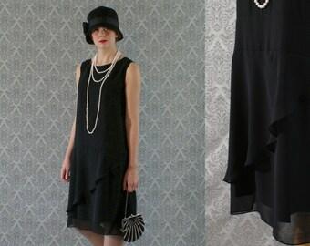 Elegant black flapper dress, with ruffled skirt detail, Great Gatsby dress, Roaring 20s dress, 1920s flapper dress, Charleston dress