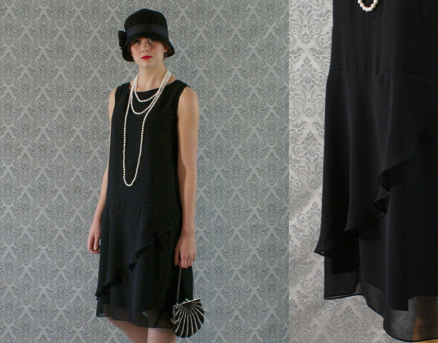 Elegant black flapper dress with ruffled skirt detail Great