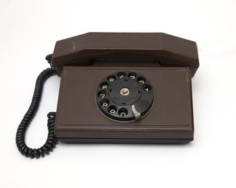 Vintage rotary brown telephone  1980s, retro telephone, rotary phone