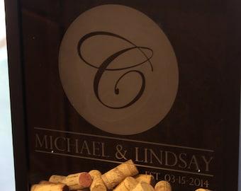 wedding date wine cork holder script letter