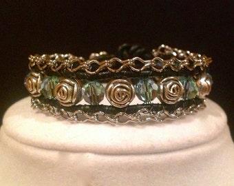 Roses & Lace Crystal Bracelet