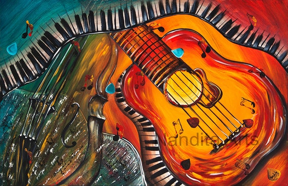 guitar art prints for sale modern art and by contemporaryartdaily. Black Bedroom Furniture Sets. Home Design Ideas