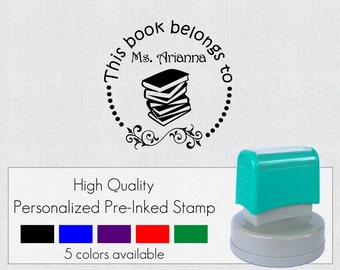 Custom Personalized Pre Inked Self Inking This Book Belongs To  Rubber Stamp FR407