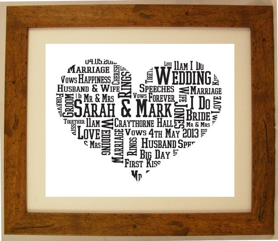 Personalised Wedding Gift Heart : Personalised Wedding Heart Shaped Word Cloud Art Gift