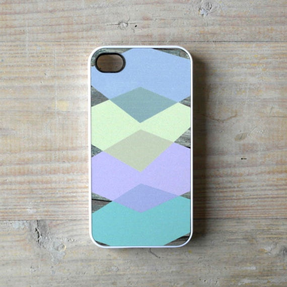 iPhone case geometric wood geometric iPhone 4/4S cover - pastel burlinghtons on wood