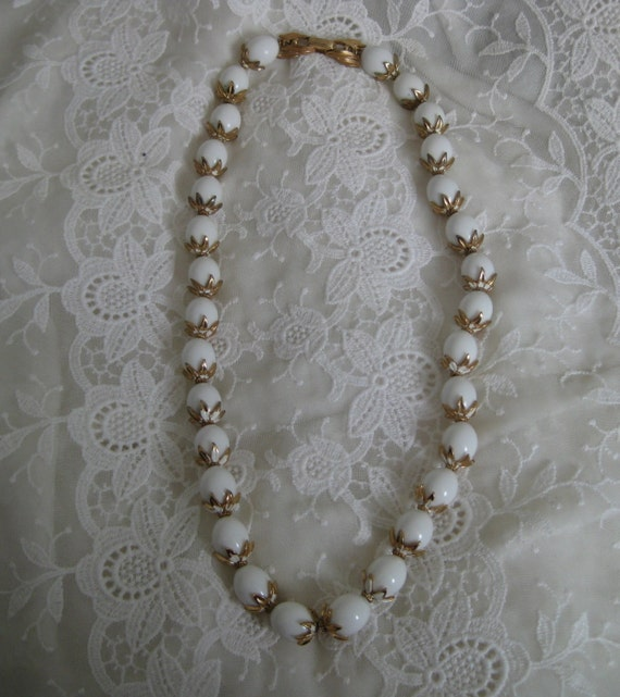 Gorgeous Vintage TRIFARI  Delicate Gold Lace Enamel and White Lucite Beads Necklace