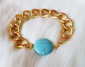 Turquoise Gold Chain Bracelet. A Chunky Gold Chain Bracelet with Turquoise Bead. Simple and Chic.