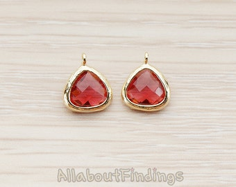 FST123-G-RU // Glossy Gold Plated Small Triangle Nugget Framed Ruby Stone Pendant, 2 Pc