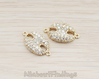 CNT011-G // Glossy Gold Plated Crystal Cubic Zirconia Setting Hog Snout CZ Connector, 2 Pc