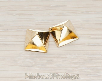 PDT290-G // Glossy Gold Plated Pyramid Triangle Pendant, 6 Pc