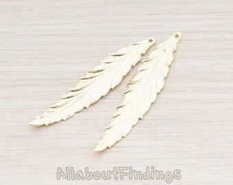 PDT575-02-MG // Matte Gold Plated Thin Long Leaf  Pendant, 2 Pc