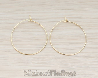 ERG660-G // Glossy Gold Plated 30mm Hoop Earwire, 6 Pc