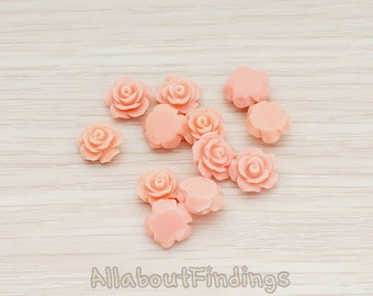 CBC157-04-PP // Pale Pink Colored XSmall Angelique Rose Flower Flat Back Cabochon, 8 Pc