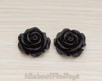 CBC157-06-BL // Black Colored XLarge Angelique Rose Flower Flat Back Cabochon, 2 Pc