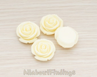 CBC181-01-CR // Cream Colored Chunky Rose Flower Flat Back Cabochon, 4 Pc