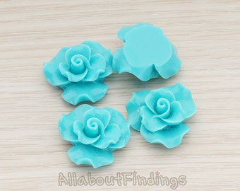 CBC191-TU // Turquoise Colored Bloom Rose Flower Flat Back Cabochon, 4 Pc