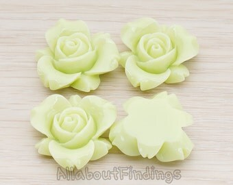 CBC200-01-YG // Yellow Green Colored Narcissus Flower Flat Back Cabochon, 4 Pc