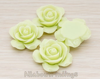 CBC189-YG // Yellow Green Colored Rose Flower Flat Back Cabochon, 2 Pc
