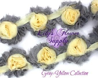 1 Yard - Shabby Flower Trim - Shabby Rose trim - Shabby Flower Rose Trim - Chiffon Flower - Gray - Yellow - Shabby Chic - Rose Trim