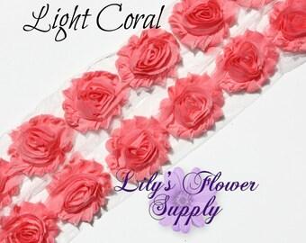 Light Coral Shabby Rose Trim - Shabby Flower Trim - Shabby Flower - Chiffon Trim - Shabby Chic - Rose Trim - Wholesale Trim - 1/2 or 1 Yard