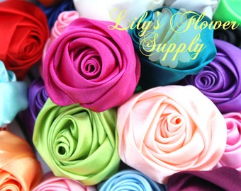 Rolled Rosettes Grab Bag - Wholesale - 2 inch - Satin Flower - Satin Rosette - Rosette -Fabric Flower - Rolled Rosettes - Grab bag rosettes