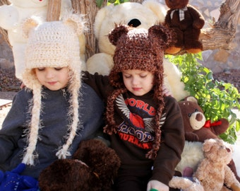 Bear hat.Cream and Brown Bear Hats.