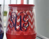 Red Chevron Personalized Monogrammed Acrylic Stemless Wine Glass - HuffShuffLane