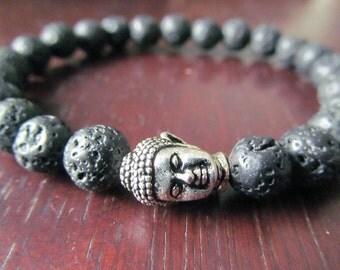 Black Lava Buddha Bracelet, Energy Bracelet, Mala, Yoga Bracelet, Yoga Jewelry, Meditation Bracelet, Reiki