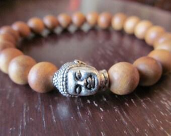 Sandalwood Buddha Bracelet, Energy Bracelett, Wrist Mala, Yoga Bracelet, Yoga Jewelry, Meditation Bracelet, Reiki, Buddhism