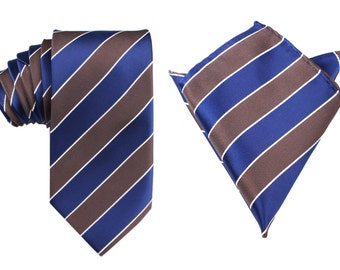 Matching Necktie + Pocket Square Combo Navy Blue Black White Diagonal(X223-T85+PS) Men's Handkerchief + Neck Tie 8.5cm Ties Neckties Wedding